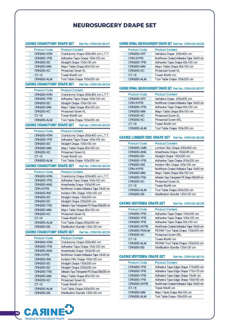 CARINE - STERILE SURGICAL PACK SYSTEMS CATALOGUE-92