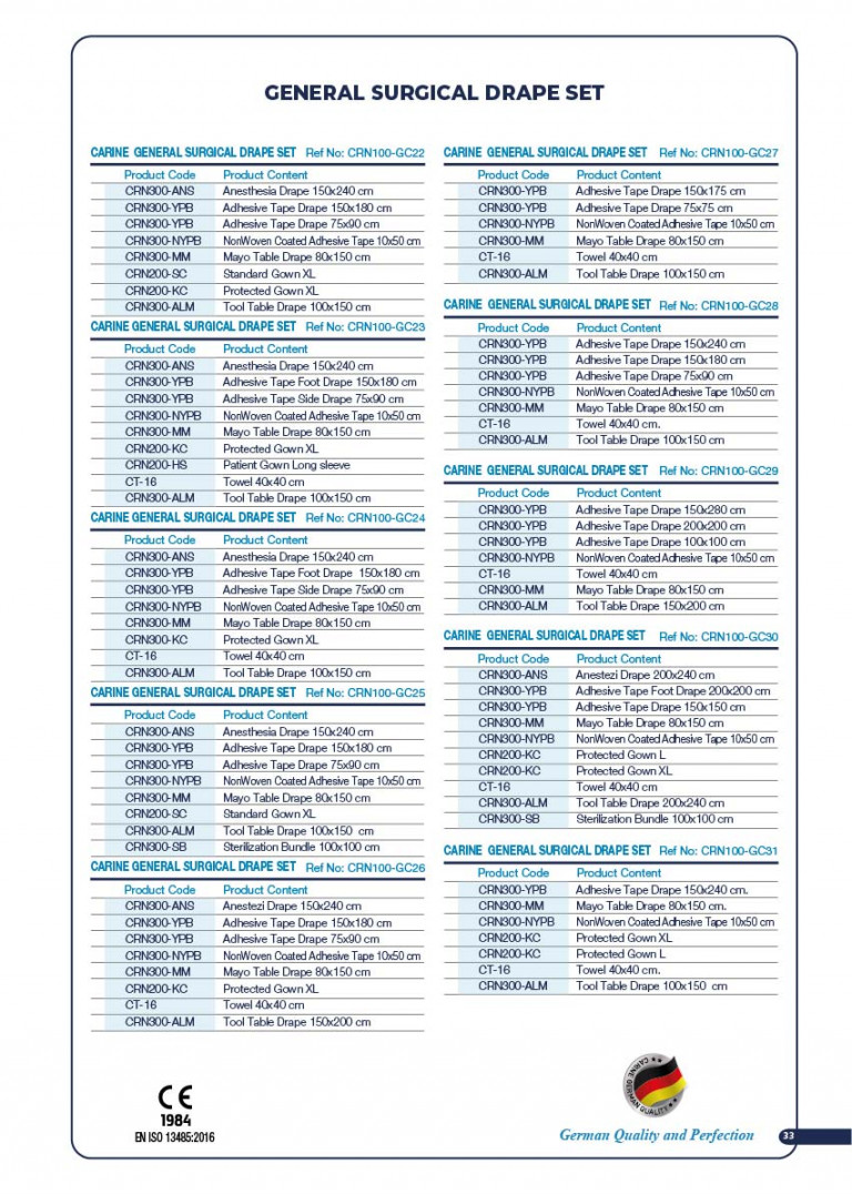 CARINE - STERILE SURGICAL PACK SYSTEMS CATALOGUE-35