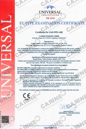 CARINE ISOLATION GOWN TYPE 6B CRM IGA