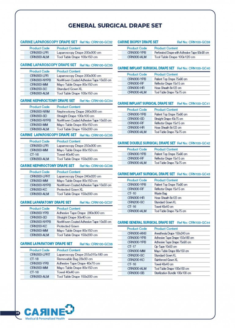 CARINE - STERILE SURGICAL PACK SYSTEMS CATALOGUE-36