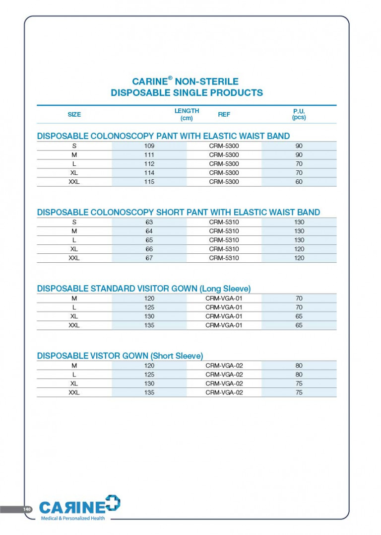 CARINE - STERILE SURGICAL PACK SYSTEMS CATALOGUE-142