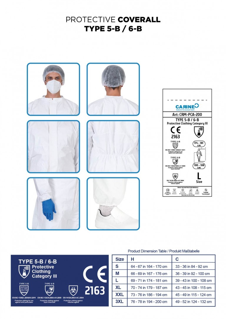 DISPOSABLE PROTECTIVE COVERALL TYPE 5-B 6-B-06