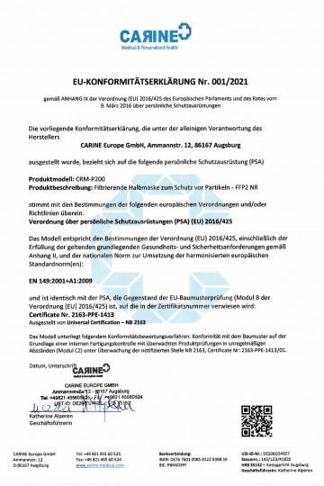 Konformitätserklärung FFP2