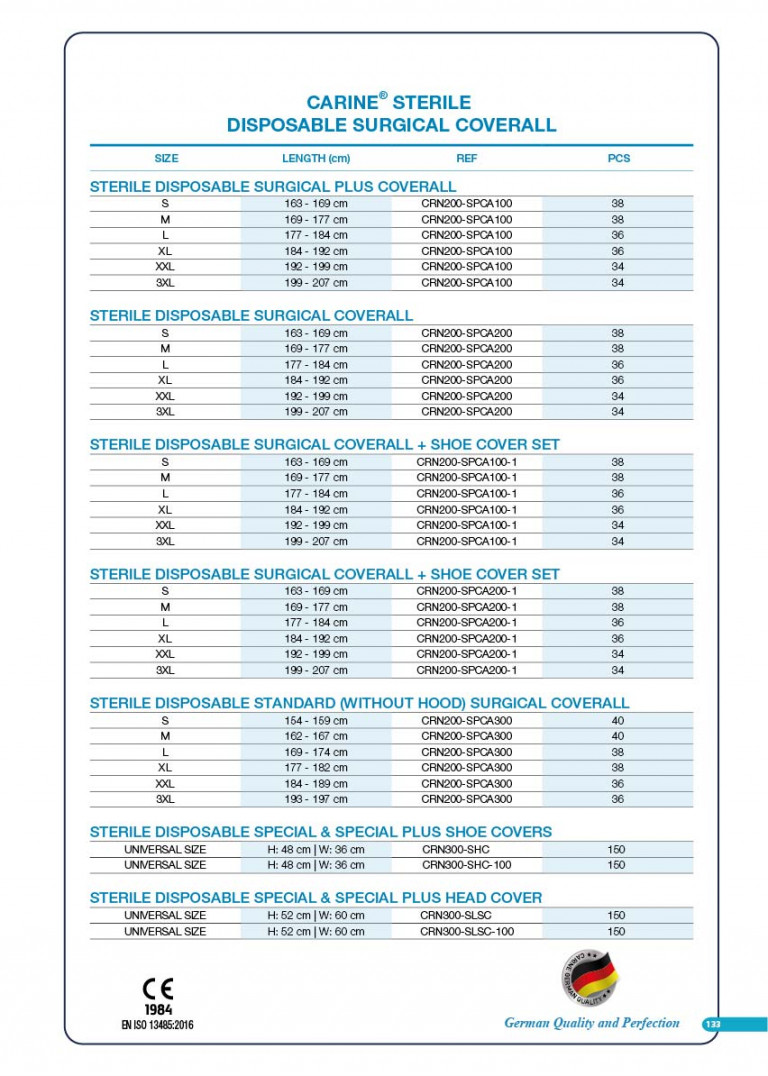 CARINE - STERILE SURGICAL PACK SYSTEMS CATALOGUE-135