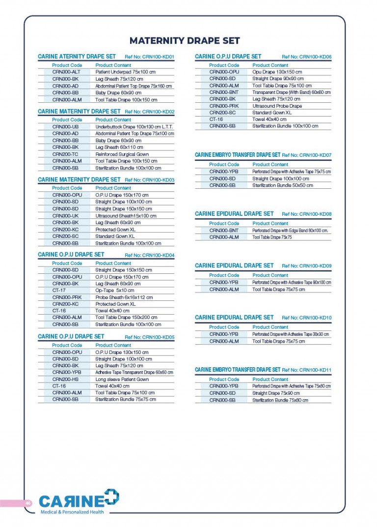 CARINE - STERILE SURGICAL PACK SYSTEMS CATALOGUE-48