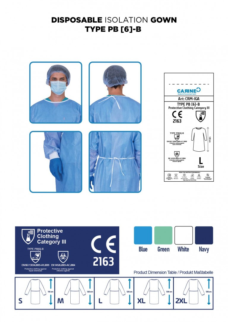 DISPOSABLE ISOLATION GOWN TYPE PB 6-B-06
