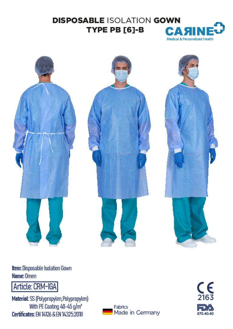 DISPOSABLE ISOLATION GOWN TYPE PB 6-B-05