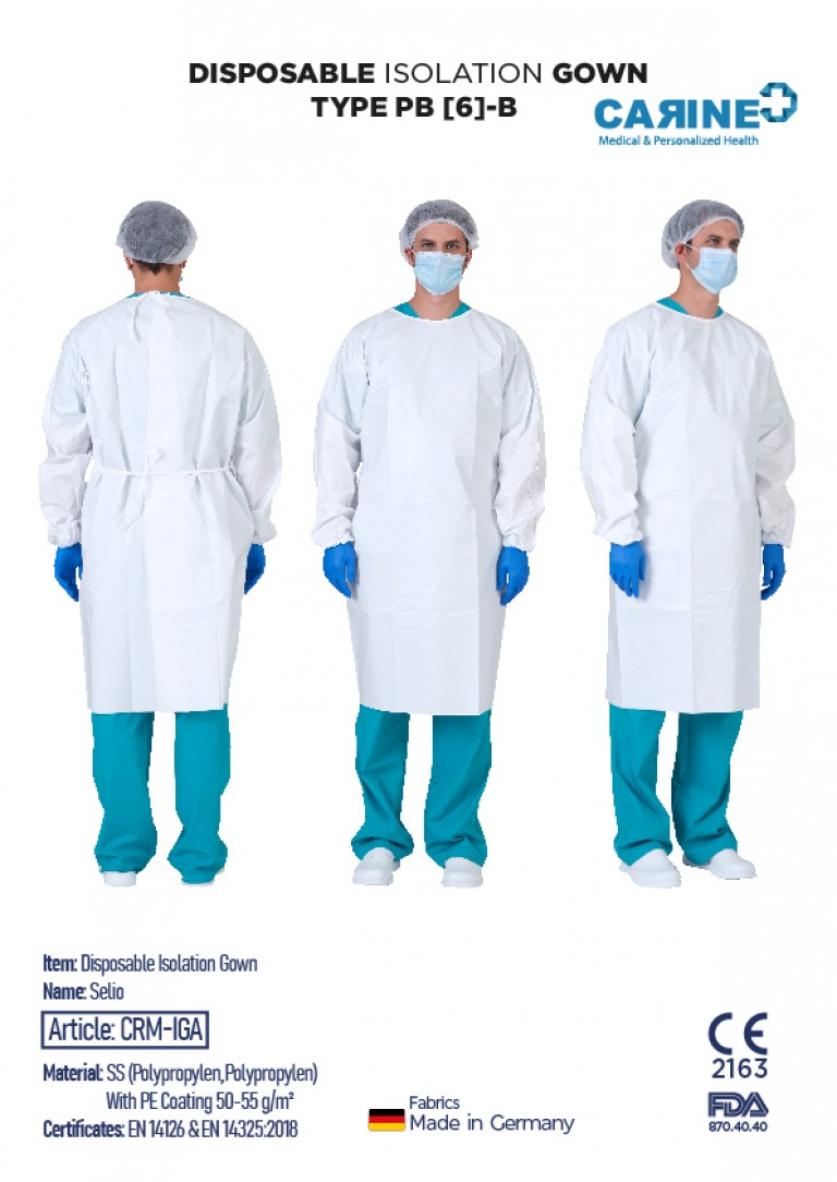 DISPOSABLE ISOLATION GOWN TYPE PB 6-B-02