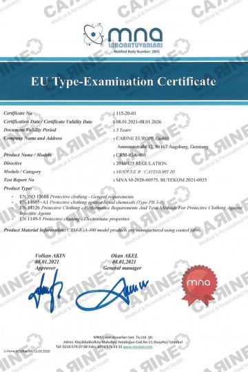 CARINE ISOLATION GOWN TYPE 3B CRM IGA 400