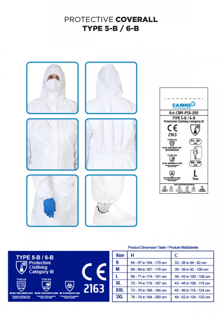 DISPOSABLE PROTECTIVE COVERALL TYPE 5-B 6-B-03