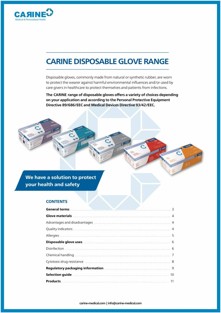 CARINE DISPOSABLE GLOVES CATALOG