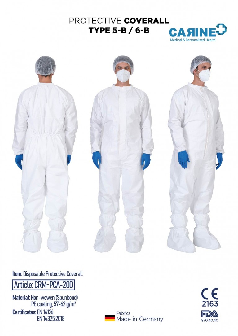 DISPOSABLE PROTECTIVE COVERALL TYPE 5-B 6-B-05