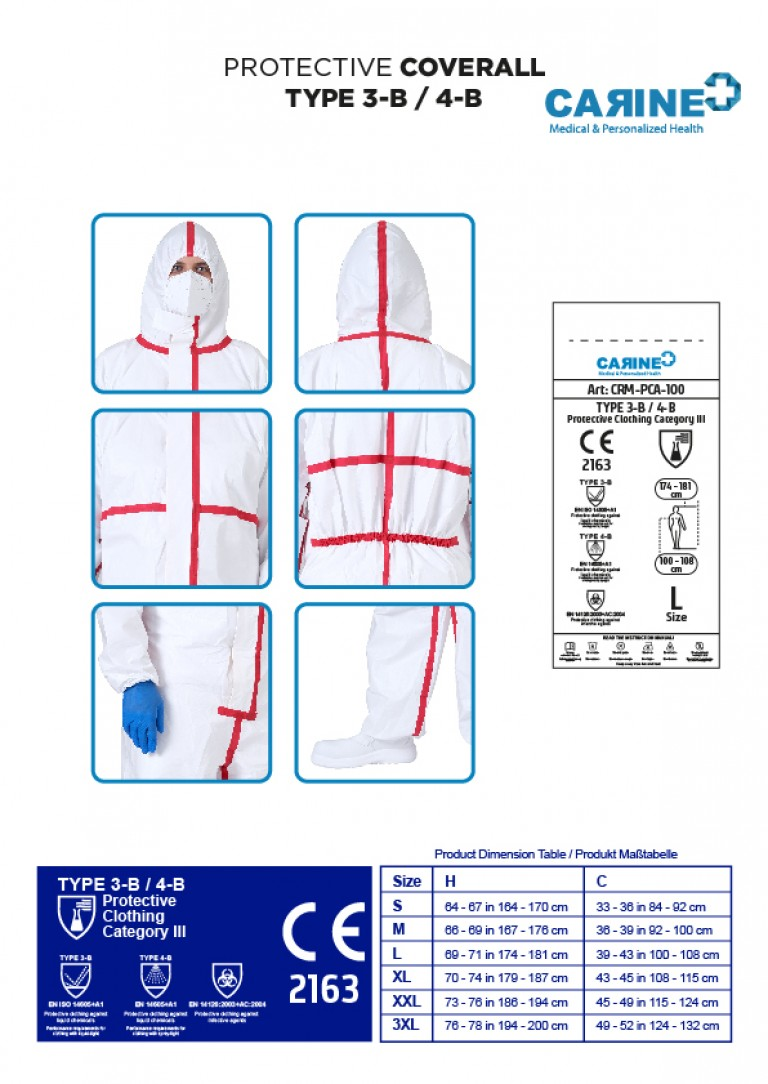 DISPOSABLE PROTECTIVE COVERALL TYPE 3-B 4-B-04