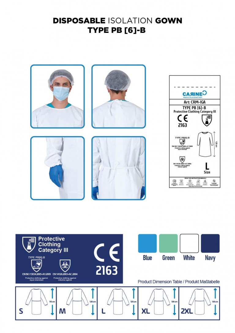DISPOSABLE ISOLATION GOWN TYPE PB 6-B-03