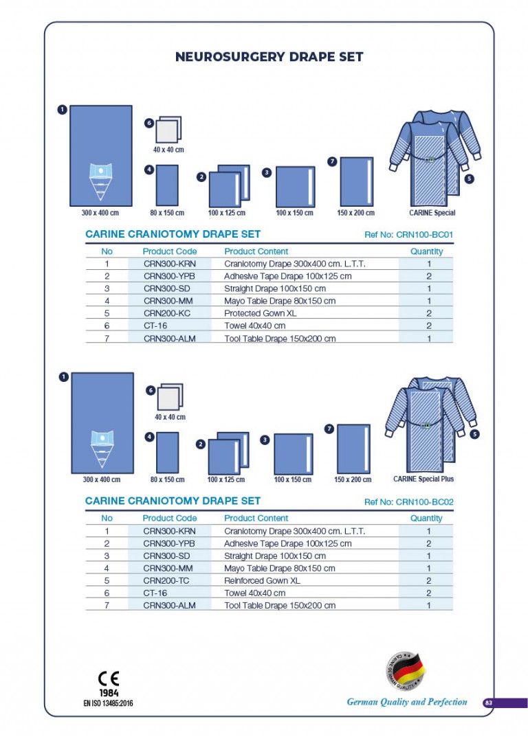 CARINE - STERILE SURGICAL PACK SYSTEMS CATALOGUE-85