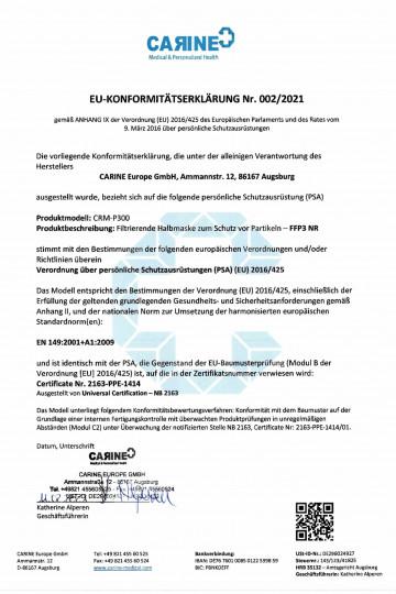 Konformitätserklärung FFP3