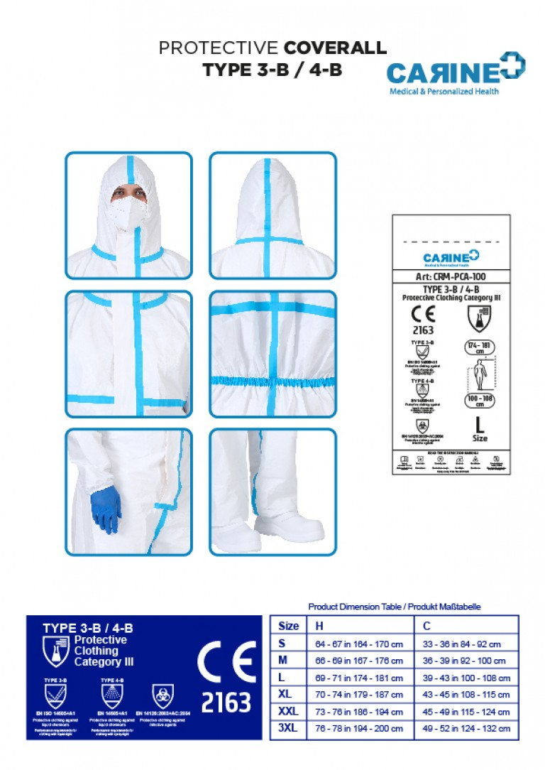 DISPOSABLE PROTECTIVE COVERALL TYPE 3-B 4-B-07