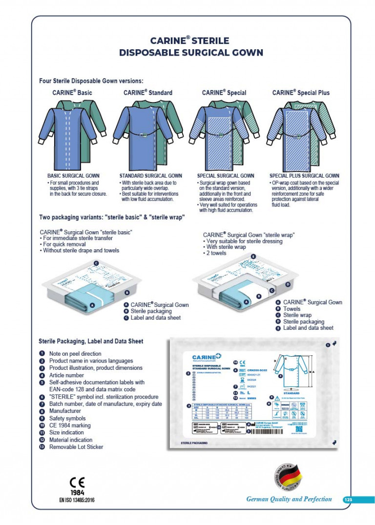 CARINE - STERILE SURGICAL PACK SYSTEMS CATALOGUE-125